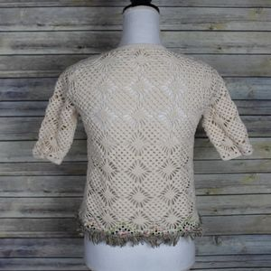 Anthropologie Sweaters - Anthrpologie Edie Crochet Fringe Cardigan Sweater